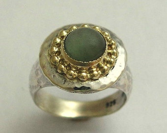 Green jade ring, gold crown ring, mixed metals ring, cocktail ring, green gemstone ring, gold silver ring, statement ring - Magic act R1439