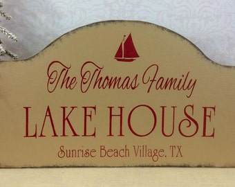 LAKE HOUSE sign, custom cabin sign, lake cabin sign, personalized wooden sign, at the lake, rustic wood sign, address sign
