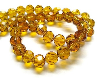 8mm Topaz Glass Crystals, Golden Amber Glass Beads, 8 mm Faceted Round Beads, Autumn Color, Fall Jewelry Making & DIY Crafts 25 Pieces SP536