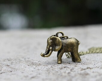 Elephant Necklace // African Elephant Necklace // Boho Necklace // Antique Brass Necklace // Charm Necklace // Animal Necklace