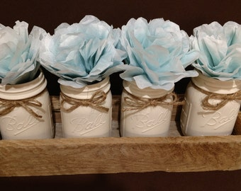 Painted Mason Jar and Rustic Primitive Flower Box with Flowers - Set of 4 Pint Jars, Country Home Decoration