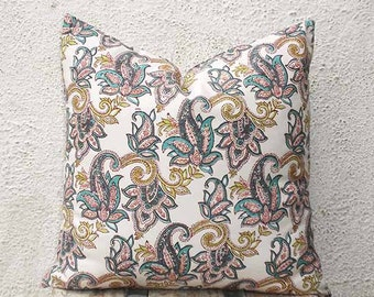 Hand Printed Pillow Covers - Paisley Pattern Hand Printed on a Very Pale Pink Fabric-  18 x 18 - 2 pieces - ct106B