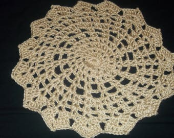 Large Tan/Brown Crocheted Doily -100% Handmade