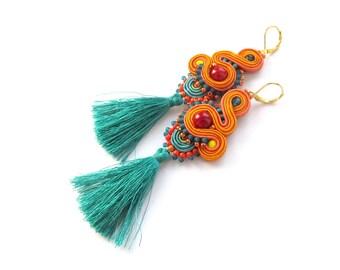 Tassel Earrings, Boho Earrings, Long Earrings, Soutache Earrings, Colorful Earrings, Handmade Earrings, Fringe Earrings, Beaded Earrings