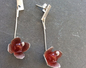 Red carnelian flower drop earrings