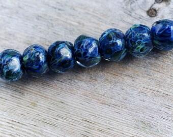 Lampwork BORO glass beads (7), borosilicate glass beads, handmade borosilicate lampwork glass beads, sea blue midnight. borosilicate SRA