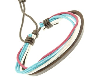 Leather And Cord Strap Bracelet In Blue, Pink And White - 250