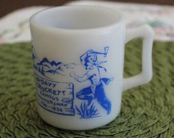 Vintage Davy Crockett Mug, Hazel Atlas Milk Glass w/D Handle