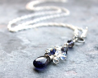 Iolite Moonstone Necklace Blue White Waterfall Cascade, Sterling Silver Gemstone Necklace