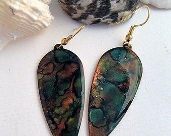 Copper ink dye and resin earrings