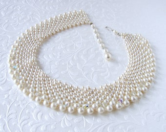 Vintage Pearl Crystal Beaded Collar Necklace Peter Pan RBG Wedding Bridal Choker Costume Jewelry Faux Pearls AB Glass Crystals Silk White
