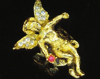 Vintage Cupid/Angel Ring . Adjustable Golden Valentine's Ring . Love and Romance . Rhinestones - Pink Birthstone  by enchantedbeas on Etsy