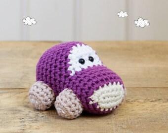 Organic cotton car baby rattle - crochet car - amigurumi car - soft rattle - purple and beige