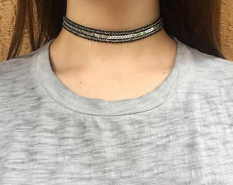 Black & Silver Sequin Choker