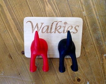 Dog Lead Holder Real Wood Laser Engraved Walkies Dog Leash / Harness Hook Wall Mountable Holder can be Personalised