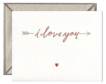 Love You Arrow letterpress card - single