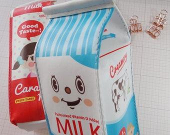 Pencil case Milk carton roomy fun cute blue Organic Milk Perfect kawaii stationery makeup bag or carry pouch korean stationery
