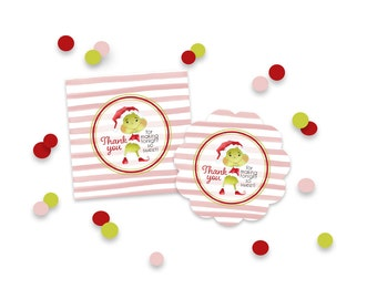 PRINTABLE Grinchy - Thank You Tags - Pink Watercolor Stripe, Grinch Tags
