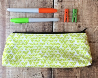 Handmade pencil case - zipper pouch - gadget bag - using lime green fabric with triangle design