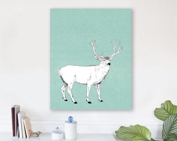 large modern wall art on canvas, minimalist fine art, colorful modern wall art, deer wall art, antler wall art, woodland nursery art - Buck