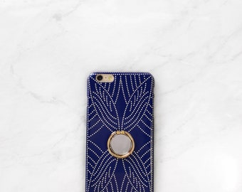 Blue Boho Dot Case with Ring Stand Grip for iPhone and Samsung Galaxy, Finger Holder, Blue and Gold