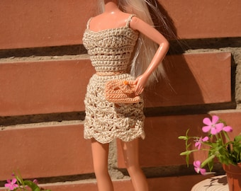 Barbie dress, Barbie T&T dress, Barbie doll dress, sleeveless Barbie dress, summer Barbie outfit, bag Barbie