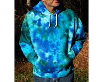 Tie Dye Hoodie Sweatshirt, Pullover Hooded Sweatshirt, Ocean Design,  Eco-friendly