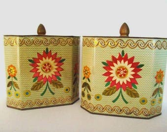 2 Beautiful Vintage Mid Century Baret Ware Daher Style Floral Tins