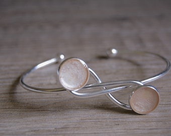 Pink Silver Infinity Bracelet Pink Cuff Bracelet Pink Cuff Bracelet Pink Cabochon Bracelet