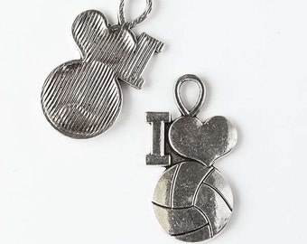 17x30mm Silver Pewter I Heart Volleyball Charm - 10 per bag