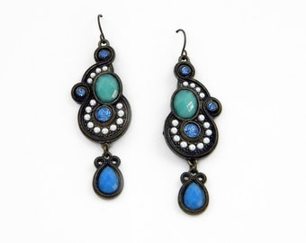 Chandelier Earrings, French Wires,  Antique Bronze Tone Metal with Blue Green Stones and Pearls