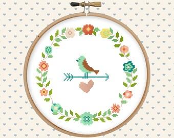 Wreath, flowers, floral, bird, heart cross stitch pattern pdf - instant download - modern cross stitch - floral cross stitch