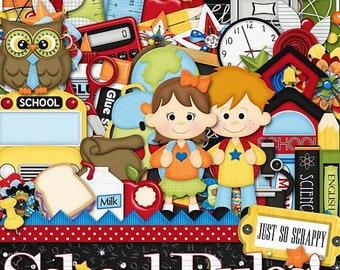 On Sale 50% Off Digital Scrapbooking Kit School Rules Kit - Digital Scrap Kit