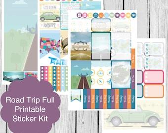 Printable Planner Stickers, Road Trip, Erin Condren Life Planner, S67-RoadTrip