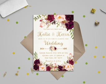 Wedding templates etsy floral wedding invitation template wedding invitation printable wedding invites set wedding invitations set printable printable invitations stopboris Images