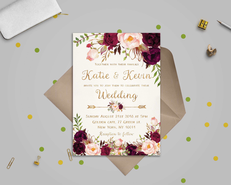 floral wedding invitation template wedding invitation