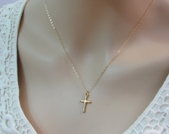 Gold cross necklace etsy gold cross necklace 18k gold vermeil cross charm necklace 14k gold filled necklace religious jewelry cross pendant layering necklace aloadofball