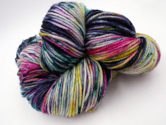 Hand Dyed Yarn 100% Superwash Merino Yarn Worsted Weight Yarn - 220 Yards - Variegated Rainbow Yarn Pink Yarn Blue Yarn - Ping Pong Champion