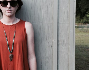 Audrey No. 3 // Wire Wrapped Arrowhead and Strung Glass Bead Necklace