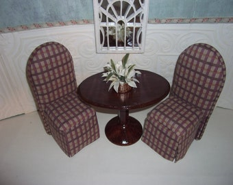 BARBIE Dinning Room Set Wood Table Two Upholstered Skirted Chairs Brown Patterned Scaled for Barbie Blythe Monster High Floral Arrangement