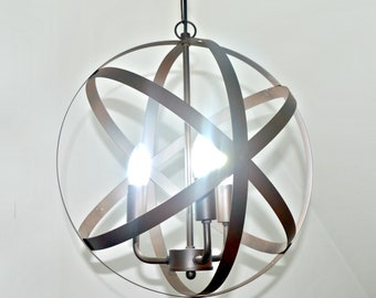 Natural Iron Pendant Sphere Ceiling Light, Industrial Lighting