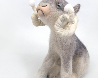 Winter Beast 2 - wintery felted wool animal sculpture - Needle felt & mixed media curly horned imaginary animal by Karina Kalvaitis