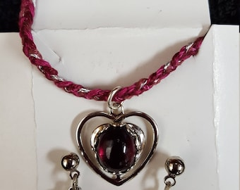 Semi-precious Ruby Stone Necklace and Earring Set