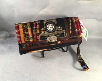 Library and Clock Handmade Clutch/Wallet