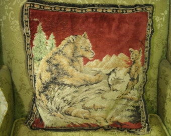 Antique Tapestry Pillow Mother Bear And Cub Trees Red Fabric Cloth Backing Antique Handmade Cushion Rustic Primitive Cabin Decor