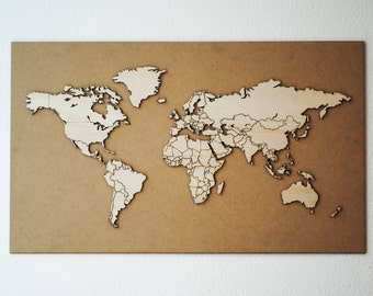 World map with country borders 45x75cm