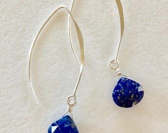 Lapis Lazuli Earrings, Blue Lapis Earrings, Faceted Lapis Heart Briolette, Sterling Silver, September Birthstone, Gemstone Earrings