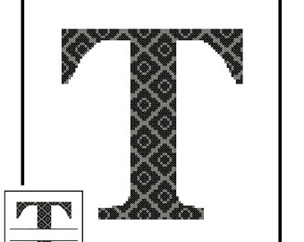 Monogram T Cross Stitch Pattern T Initial T Letter cross stitch Wedding Gift House Warming split letter cross Wedding Record Anniversary