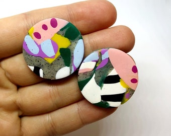 Gor(wo)man - polymer clay large stud earrings