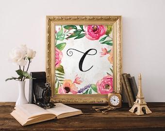 C Monogram Instant Download, Nursery Decor, Watercolor flower, Floral Alphabet, Calligraphy Monogram, Nursery print, Initial Letter, B058